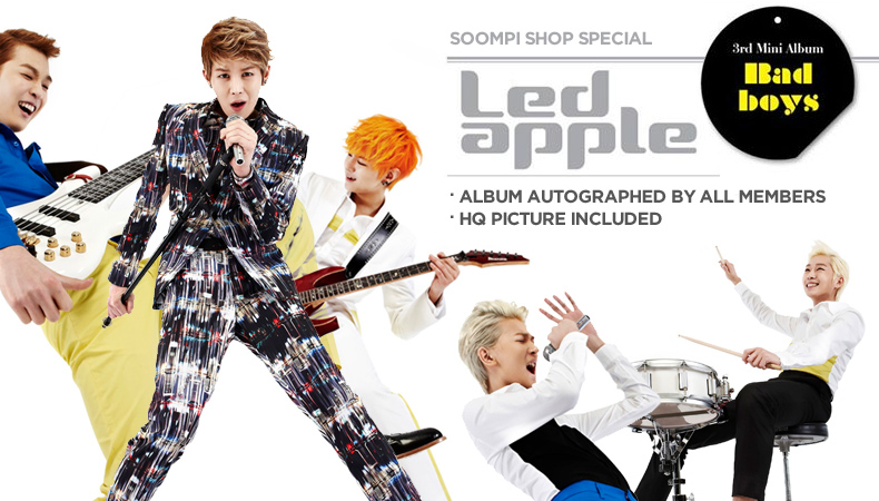 "[Soompi Shop] Autographed Led Apple ""Bad Boys"" Special Package!"