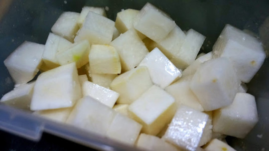 Then cube them and add salt and sugar to them