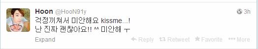 U-KISS Hoon Twitter post