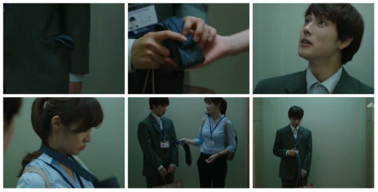 Young Yi does Geu Rae's tie for him