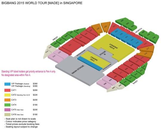 BIGBANG Singapore Concert Seat Plan