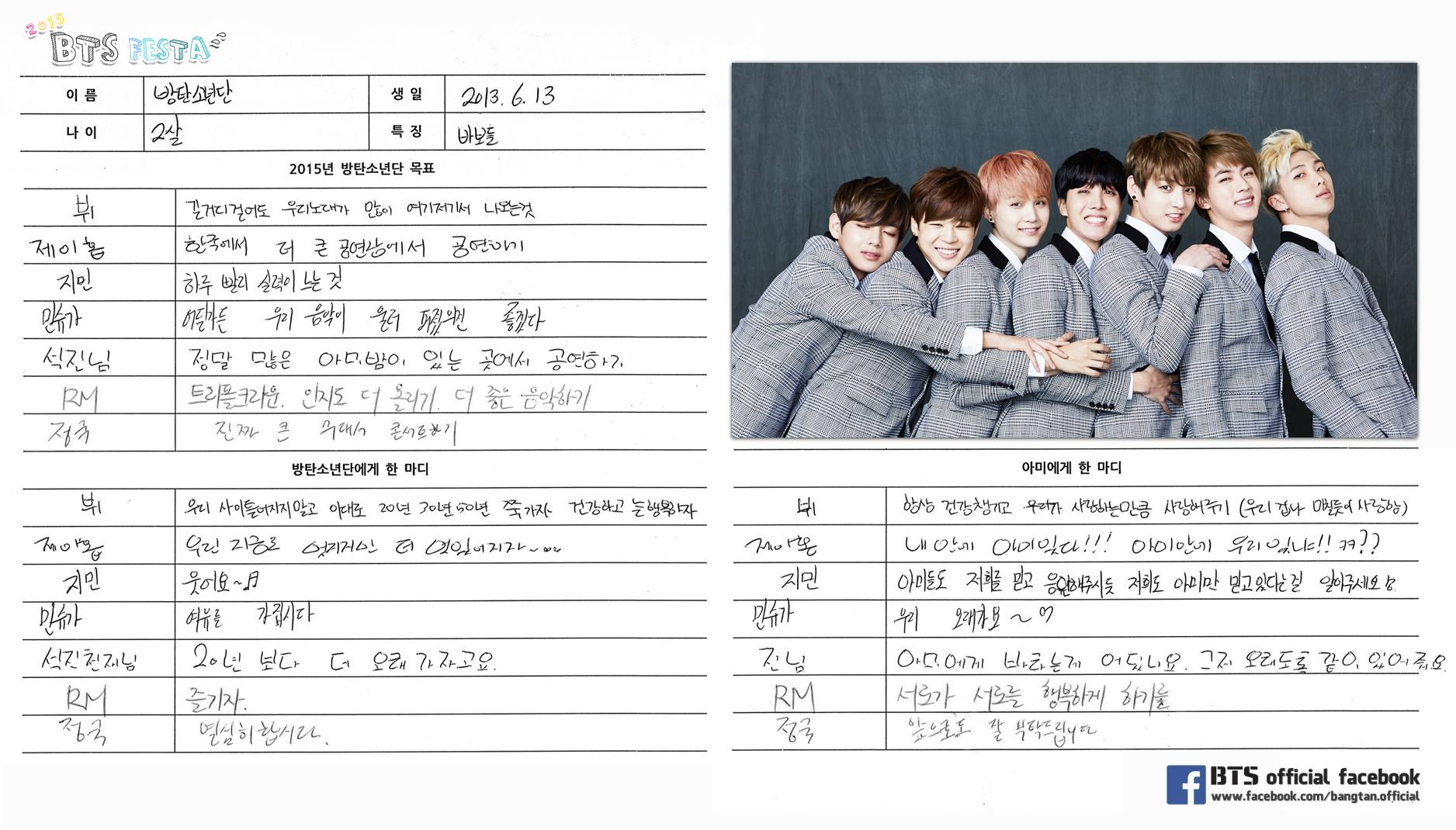 BTS Festa 2015 Goals and Messages