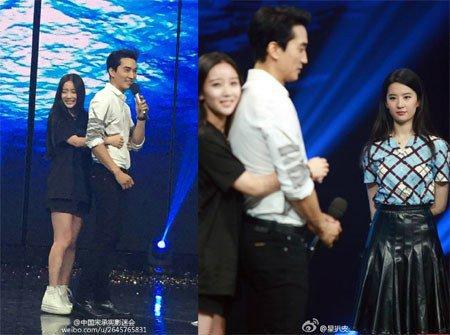 Liu Yifei Reacts to Song Seung Hun Receiving Back Hug