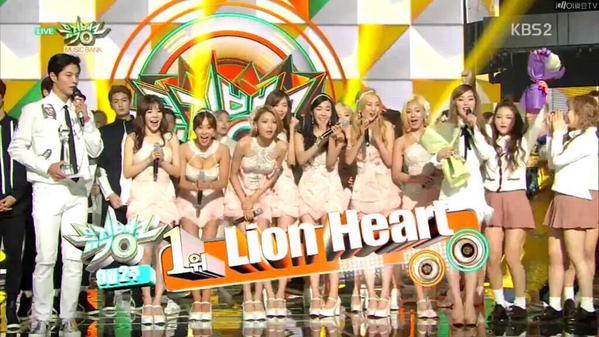 girls' generation music bank lion heart win