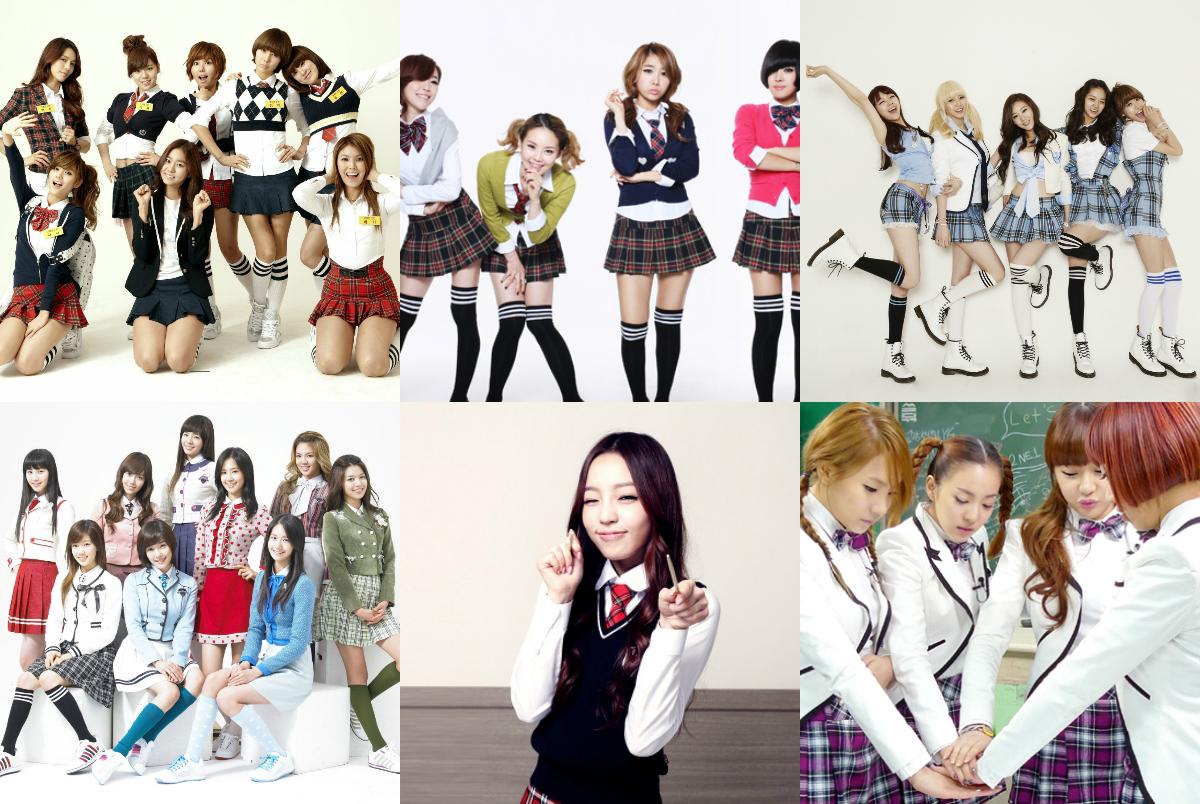 School uniforms Kpop girl groups
