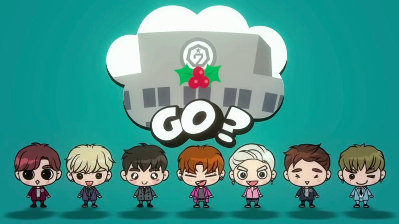 "GOT7′s Cute Cartoon Characters Prepare a ""Confession Song"" in Holiday-Themed Teaser"