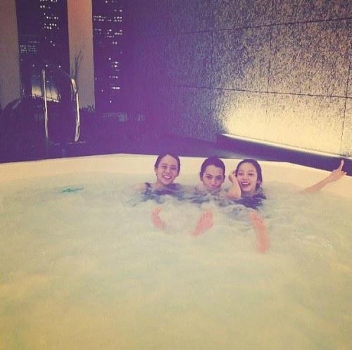 kara in a tub