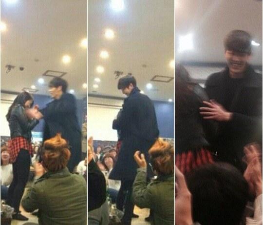 """Kim Woo Bin Gives Park Shin Hye a Big Hug at """"The Heirs ... Park Shin Hye And Kim Woo Bin Hug"""