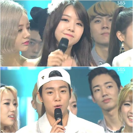 Minah and Lee Hyun Woo Say Goodbye on Inkigayo