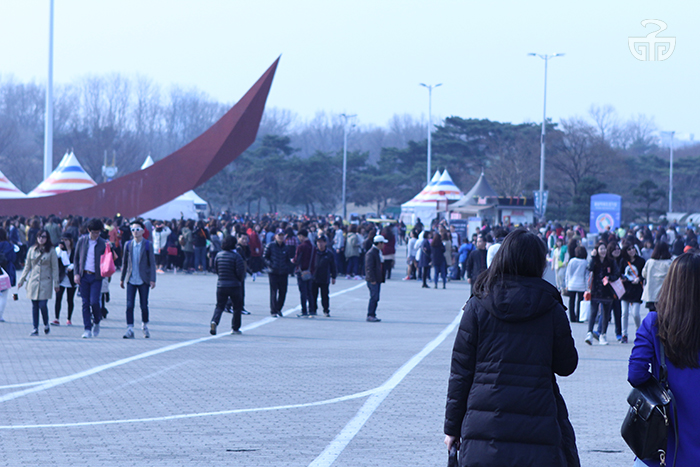 Shinhwa fans gather before the 16th anniversary concert.