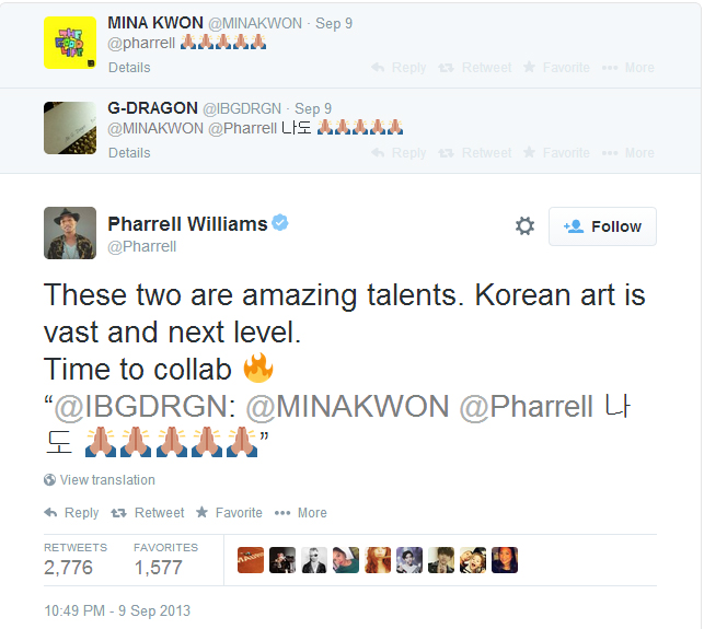 Pharrell Tweet G-Dragon