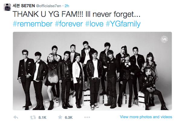 Soompi Se7en Thanks YG Family Following