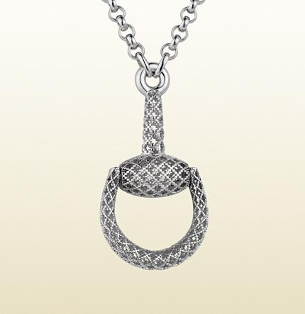 gucci horsebit sterling silver pendant