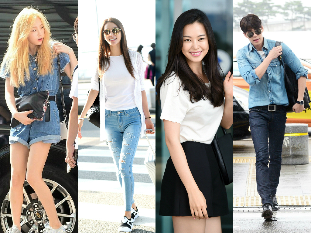 airport fashion roundup kim woo bin taeyeon honey lee
