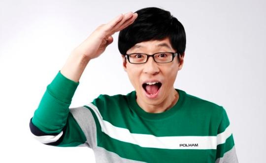 yoo jae suk in green sweater