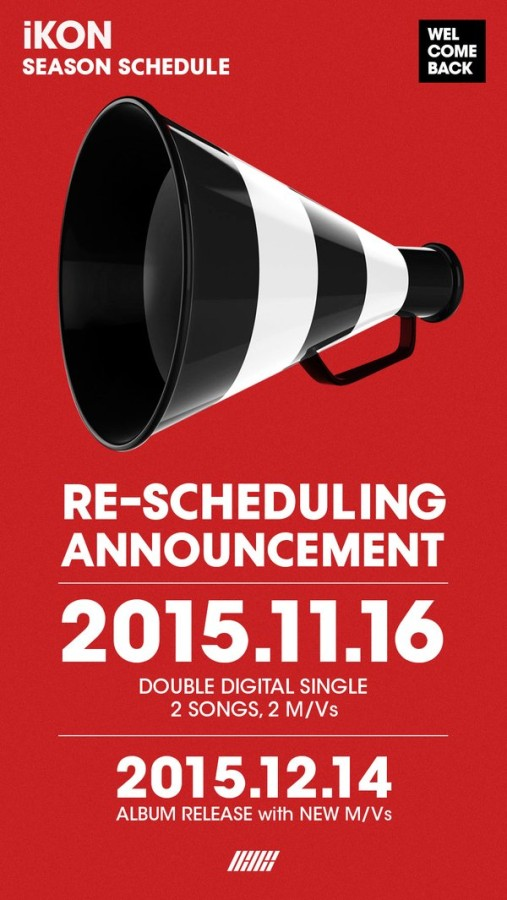 iKON re-scheduling announcment